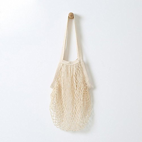 Reusable shopping bags foldable eco basket fold Fruit food String Grocery Cotton Mesh Woven Shoulder Bag (38 * 48.2cm, White)
