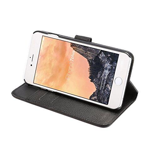 Voguecase® Pour Apple iPhone 7 Coque, Étui en cuir synthétique chic avec fonction support pratique pour Apple iPhone 7 (Cheval fou motif-Rouge-Marron)de Gratuit stylet l'écran aléatoire universelle Litchi grain-Noir