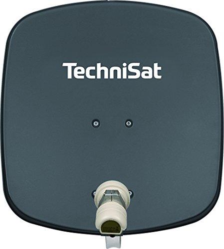 TechniSat DIGIDISH 45 Satellitenschüssel (45 cm kleine Sat Anlage mit Wandhalterung und Universal V/H Single-LNB für 1 Teilnehmer) grau