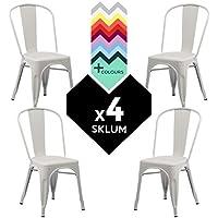 SKLUM SILLA TOLIX (Pack 4) - Silla Industrial Metálica Blanco - (Elige Color)