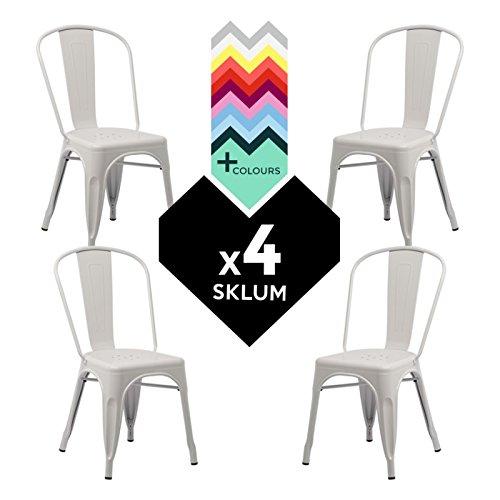 Sedia tolix - sedia industriale in metallo bianco ( 4 pezzi)