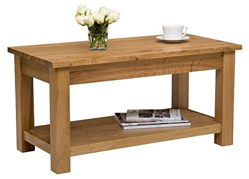 Waverly Eiche Großer Tisch Couchtisch mit Ablage in Eiche Hell Finish 90cm | Massiv Holz rechteckig TV Ständer | Lounge Aufbewahrung -