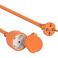 Electraline 101053 - Cable alargador eléctrico para jardín (25 m) color naranja