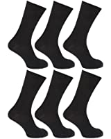 FLOSO® Mens Ribbed 100% Cotton Socks (Pack Of 6)
