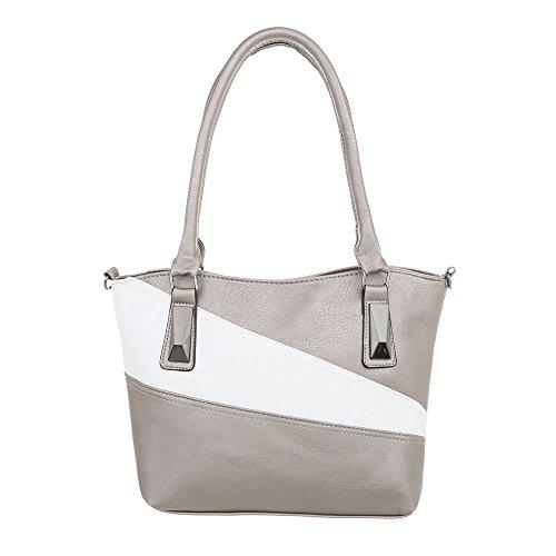 99bb7096e51d0 iTal-dEsiGn Damentasche Kleine Schultertasche Used Optik Handtasche  Kunstleder TA-C-571 Silber
