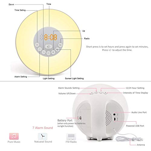 Wake-up Light, Sunrise Sunset Simulator Mode,FM Radio,LED Display Touch Control, USB Charger,7 Colors Light 6 Natural Sounds, Snooze Mode Bedside Alarm Clock