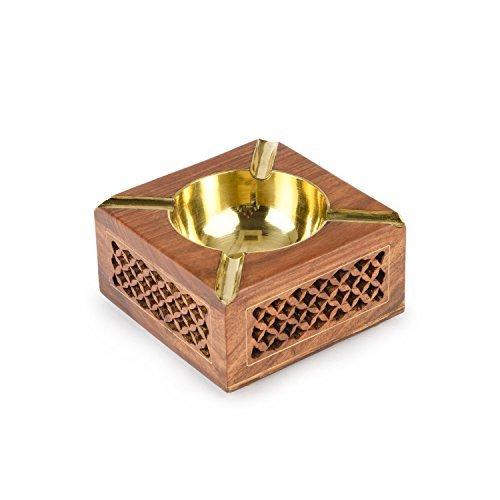 Cenicero cuadrado de madera Jali diseño con tazón de fuente de color dorado, cenicero de cigarrillo al aire libre o interior, titular de ceniza para fumadores, cenicero de escritorio de fumar para oficina en el hogar, día de pascua / día de la madre / regalo de Viernes Santo