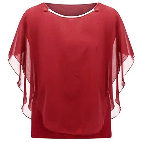 LOPILY Chiffon Damen Oberteil Große Größen Batwing Blusen mit Rüschen Ärmel Rundhals Shirt für Mollige Elegantes Oberteil Business Casual Bluse Übergröße (Rot, EU-50/CN-5XL)