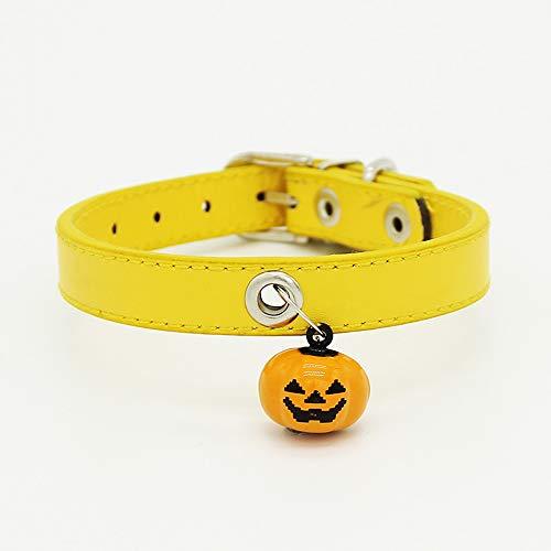 ALiYangYang Lederhalsbänder mit Kürbisglockenanhänger Verstellbares, weiches Lederhalsband mit Stabiler Metallschnalle für Katzengeschenke,Yellow,0.52x12.4''
