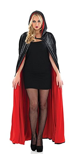 Red Velour Hooded Cape Long Length Adult Womens Halloween ()