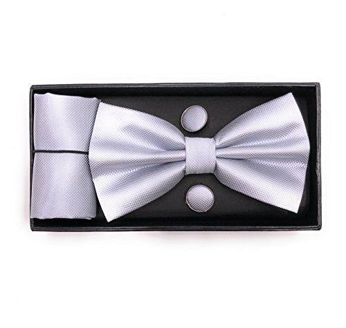 JillyMode Herren Krawatte (Set, mit Einstecktuch u.ManschettenKnöpfe) HANDMADE K0304 (K04-Fliege-Set-Hellgrau)
