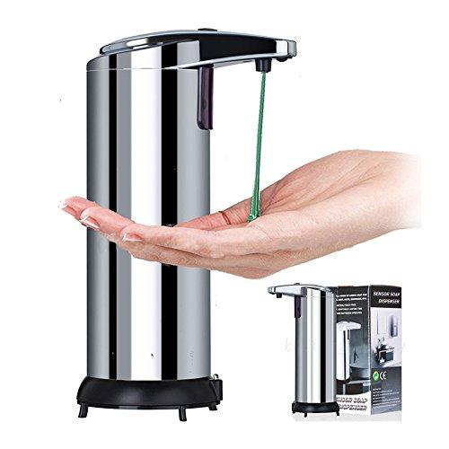 Automatische Seifenspender mit Infrarot Sensor, Calar 280 ML Edelstahl Hands Free Touchless Dispenser Sensor Shampoo Seife Flüssig Spender für Küche Badezimmer Büro Hotel Countertops, Silber (Silber)