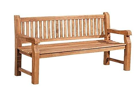 CLP Banc de jardin en bois de teck robuste JACKSON V2, résistant à toutes les saisons, avec dossier (6 tailles au choix) 120x60 cm