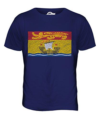 CandyMix Nuovo Brunswick Bandiera Scarabocchio T-Shirt da Uomo Maglietta Blu Navy
