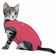 MAXX Cat Medical Pet Care Clothing & After Surgery Wear Recovery Shirt For Cats, E Collar Alternative Cone Of Shame For Post Operative, Pet Healing, Anxiety, Infection, Wounds & Bandages- (3XS, Pink)
