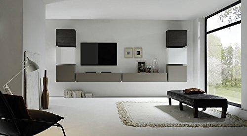 Parete attrezzata mobili soggiorno 8 mobili sospesi in melamina 16,3x40,7x3,1cm sodani cube bianco e grigio e wengè