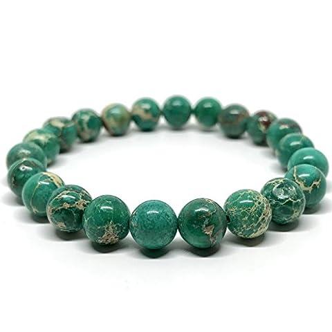 GOOD.designs Chakra Bead Bracelet made of natural Jasper stones (Green)