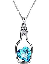 Fasherati Love Drift Bottles Blue Heart Crystal Pendant Necklace for Girls