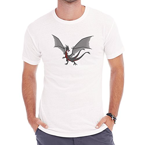 Black And Red Dragon Wings Standing Herren T-Shirt Weiß