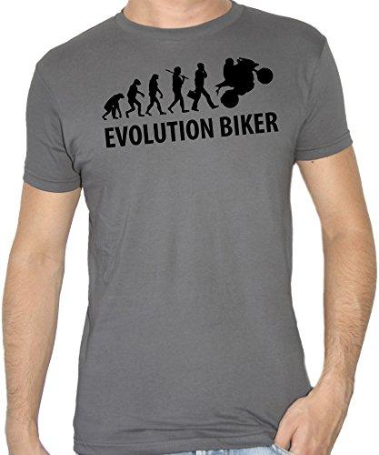 New Indastria T-Shirt Evolution Biker -L'Evoluzione dei Motociclisti - by Uomo-XXL - Grigio Antracit