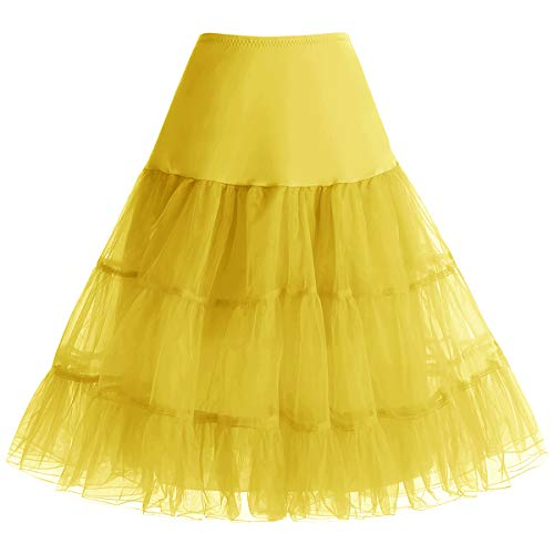 bbonlinedress Organza 50s Vintage Rockabilly Petticoat Underskirt Yellow L