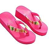 LUCKYCAT Prime Day Amazon, Sandales d'été Femme Chaussures de Été Sandales à Talons Chaussures Plates Sandales Plate-Forme Plage Coin Plat Patch Flip Pantoufles 2018 (39EU, Noir)