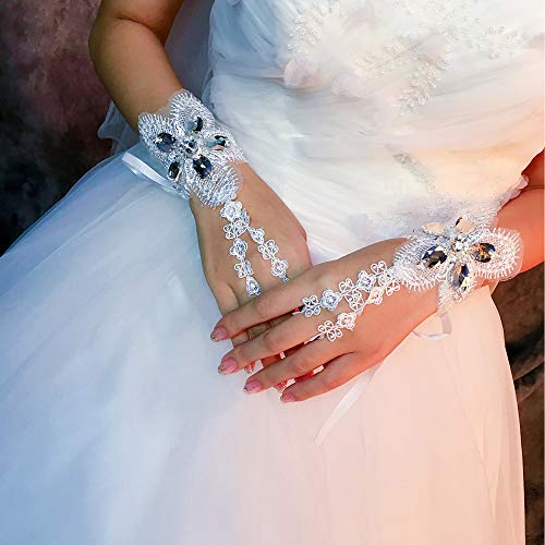 NLS-Party Handschuhe Spitze Handgelenk Länge Handschuh Handschuhe mit Kristallen/Strass 2 Paar Gr. Einheitsgröße, elfenbeinfarben (Halloween Ropa Para 2019)