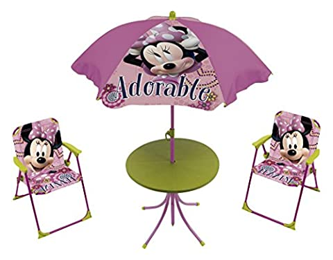 Arditex - 009451 - Set De Jardin - Minnie Mouse Avec Table Ronde/parasol De 100cm - 2 Chaises - En