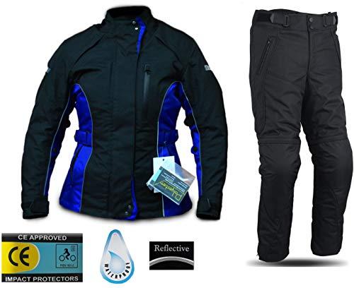 WinNet Completo tuta da moto femminile in cordura giacca e pantaloni per turismo (L)