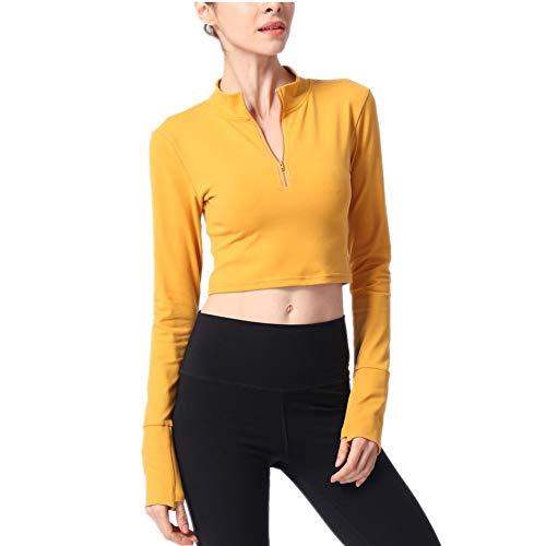 Sport T-Shirt Langarm Stehkragen Half Zip Fitness Wear T-Shirt Schönes Rücken T-Shirt Yoga Wear Gelb M