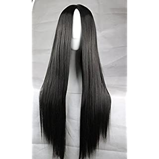 Womens Ladies Girls 75cm Black Color Long Straight High Quality Hair Carve Cosplay Costume Anime Party Bangs Full Sexy Wigs