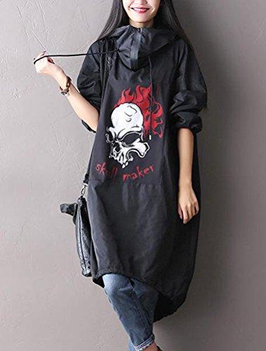 MatchLife Femmes Manches Longues À Capuche Robes Parka Camouflage Robes Style2-Noir