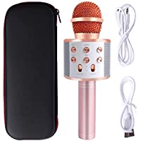 Mukum 3 In 1 Wireless Microphone for Karaoke Compatible with Pc/iPad/iPhone/Android Smart-Phone for Party (Rose Gold)
