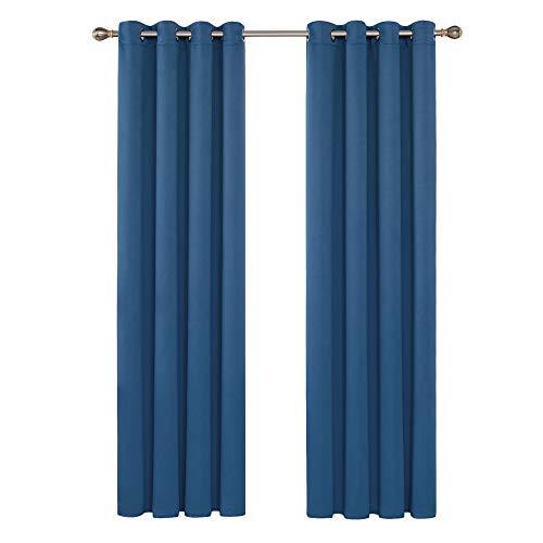 Deconovo tende camera da letto bambini oscuranti termiche isolanti con occhielli moderne per finestre interni 140x280cm 2 pannelli blu acciaio
