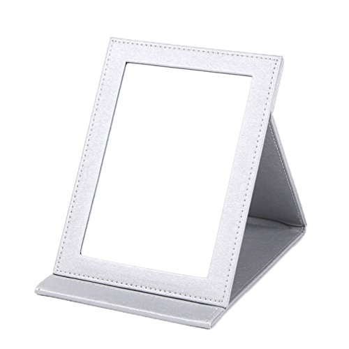 rnow-deluxe-pu-leather-desktop-large-makeup-cosmetics-personal-beauty-folding-mirrors-silver