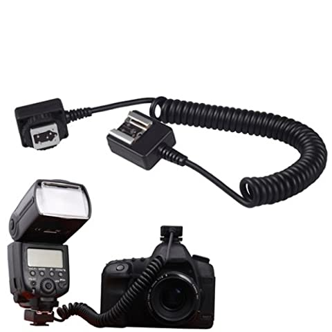SC-41 TTL Off Camera Flash Sync Cord Coiled pour Olympus PEN E-P1 ou E-P2/E-620 E-550 E-520/////E-510 E-450 E-420 E-410 E-400////SP E-100-550UZ 510UZ/Longueur 30 cm (can be extended up to Black) 1,8 m