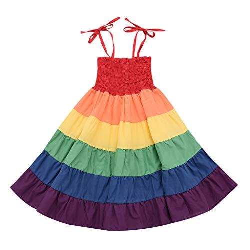 Innerternet Festliche Kleider für Kinder Mädchen Regenbogen-gestreiftes Patchwork-Prinzessin Sommerkleid Ärmellos Prinzessin Blumenmädchenkleid Hochzeitskleid Karneval Party Kleider für Schwestern