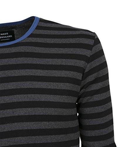 MADS NORGAARD Herren Langarmshirt Tobias in Grau gestreift 1807 charcoal/black-bright blue