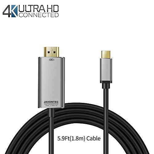 JAVONTEC USB C auf HDMI Kabel 1,9 m USB 3.1 Typ C auf HDMI Kabel (Thunderbolt 3 kompatibel) 4 K & 60 Hz, für 015,2016,2017 Apple MacBook 30,5 cm, Chromebook Pixel, Samsung GalaxyS8 S Schwarz
