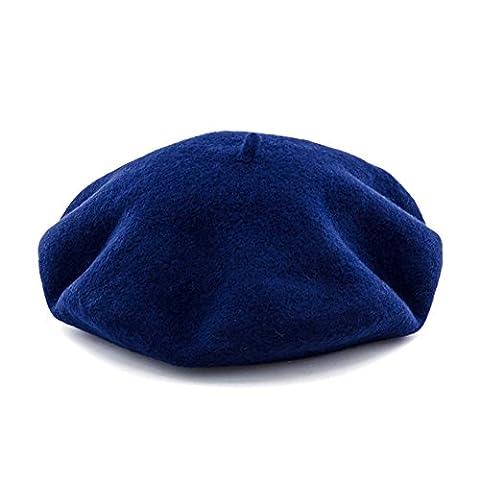 JOOWEN Women's Classic French Artist Solid 100% Wool Beret Hat (Navy Blue)