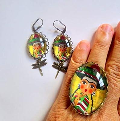 Ensemble: pendentif et bague ajustable Frida