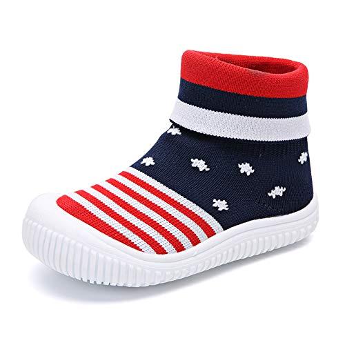 zhenghewyh Unisex Baby Erste Wanderer Schuhe Atmungsaktives Mesh Bodenturnschuhe Kleinkinder Jungen Mädchen Slip-on Slippers Dunkelblau 20 EU