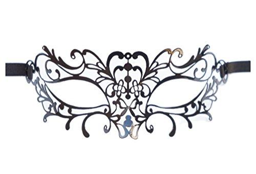 Danzetta - Metall Maske Filigran Venezianischer Stil Venezianische Maske Schwarz (Metall Filigran Maske)