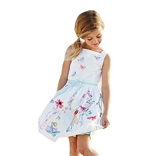 Beikoard Niña Vestido Liquidación, 2018 Vestido de Verano niños niñas Ropa de niños Floral Butterfly Print Vestido de Princesa (130cm/5T, Blanco)