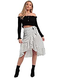 011aad0606dbcd MISSI LONDON New Women s Ladies Girl s Polka Dot Frill Wrap Casual Midi  Skirt (White