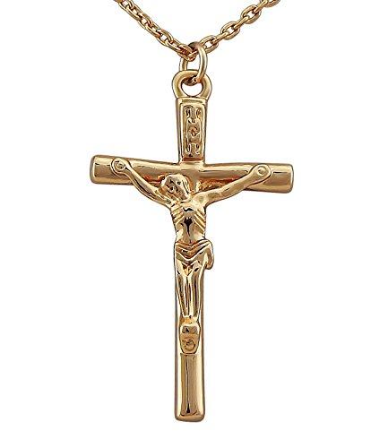 Hanessa Damen-Schmuck goldene Hals-kette Jesus-Kreuz-Anhänger Rosé-Gold Vergoldet Geschenk für die Ehe-Frau / Freundin / Frauen (Rose Gold Jesus Stück)