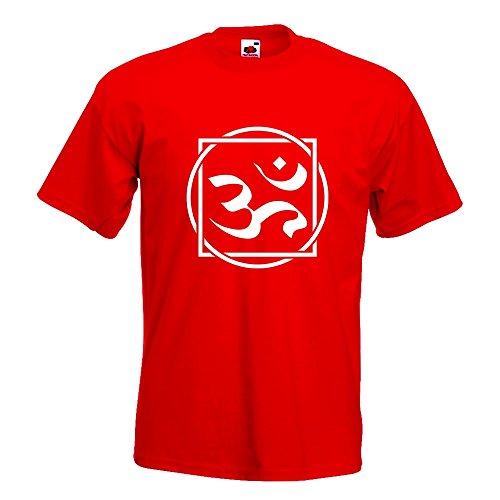 KIWISTAR - Om Zeichen T-Shirt in 15 verschiedenen Farben - Herren Funshirt bedruckt Design Sprüche Spruch Motive Oberteil Baumwolle Print Größe S M L XL XXL Rot