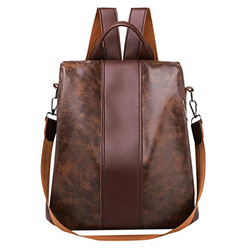 Tohole Damen Oxford Schultertasche Rucksack Tasche Leder Handtasche Schulbuchtasche Wasserdichte Daypack Schultaschen Diebstahlsicher Tagesrucksack Schultertaschen(braun)