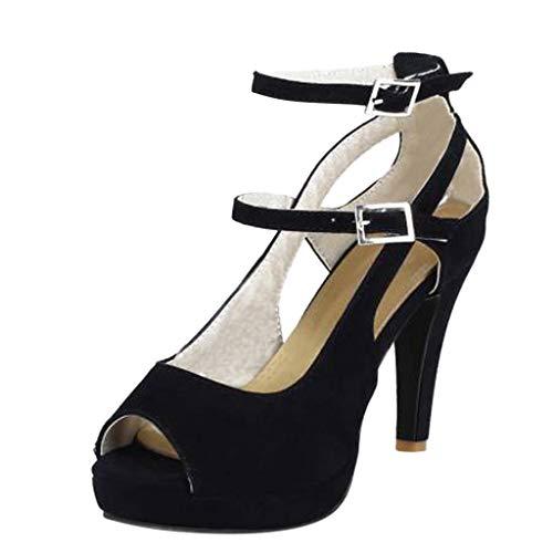 SEHRGUTGE Stilvolle Plattform Stiletto für Damen Peep Toe Schnalle High Heels Pumps, Riemchen Stiefel Sandalen Schuhe (Schwarze Riemchen Mädchen Kostüm Heel Schuhe)