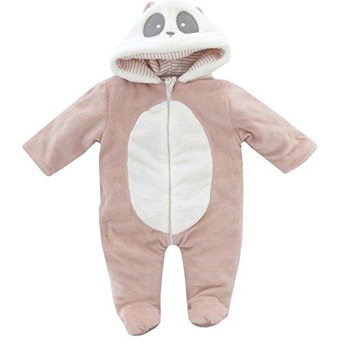 NEU | Plüsch Teddy Overall Anzug Schneeanzug Panda altrosa | 50 56 62 68 74 80 6-9 Monate (Baby Panda Anzug)